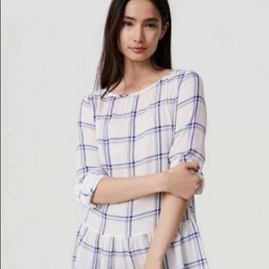 LOFT plaid tab sleeve peplum blouse 223